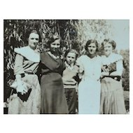 1930s Small Black & White Photo of Lovely Women Family