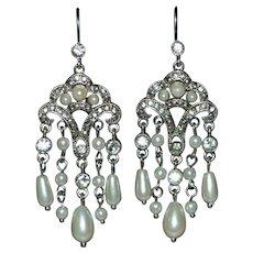 MONET Signed Faux White Pearl & Rhinestone Chandelier Earrings