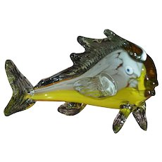 Murano Orange & Yellow Blown Glass Fish in Movement Sculpture