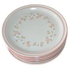 NEW Set of 6 Chantilly by Hearthside Fleur de Bois Pink Peach Stoneware Dinner Plates