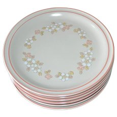 NEW Set of 6 Chantilly by Hearthside Fleur de Bois Pink Peach Stoneware Dinner Plates