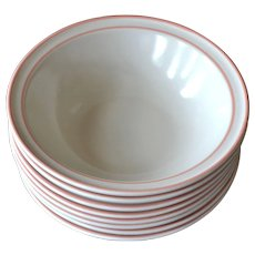 NEW Set of 8 Chantilly by Hearthside Fleur de Bois Pink Peach Stoneware Cereal Bowls