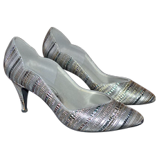 Touch Ups by Walk Silver Metallic Striped Heels ~ Size 8.5M