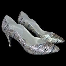 Touch Ups by Walk Silver Metallic Striped Heels ~ Size 8.5M