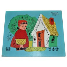1950s Playskool Little Red Riding Hood 18 Pc Wooden Jigsaw Puzzle