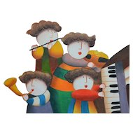 J. Roybal Original 16x20 'Whimsical Child Musicians at Play' Acrylic Impressionism Painting