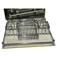 Barclay Geneve Silver Chrome & Lucite Flatware Caddy or Letter Organizer