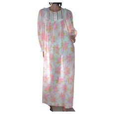 1970s Barbizon Pink & Gold Flower Ruffled Maxi Nightgown