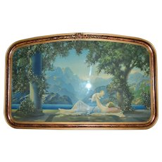 "c1925 Art Deco 33"" Large Robert Atkinson Fox 'Love's Paradise' Borin Chicago Mother & Baby Lithograph Gold Gesso Curved Wood Frame"