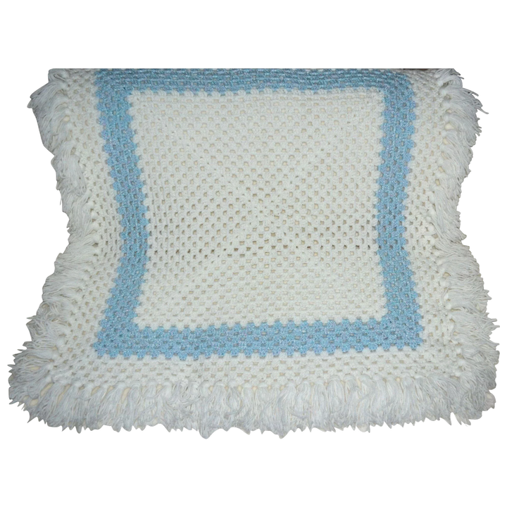 Beautiful White Baby Blue Square Crochet Blanket With Fringe