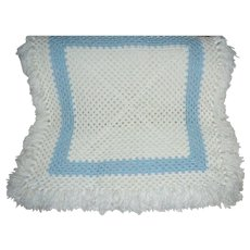 Beautiful White & Baby Blue Square Crochet Blanket with Fringe
