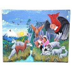 Colorful Oil on Sheepskin Signed Original Cotopaxi Ecuador Painting