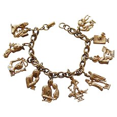 Signed CORO The Ten Commandments 3D Double-Sided Goldtone Charm Bracelet
