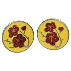 Sterling Silver Red & Yellow Enamel Poppy Flower Round Screwback Earrings