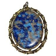 "Large 2"" Marbled Blue Lapis Lazuli Oval Glass Gold Fleck Brass Bamboo Pendant"