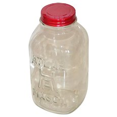 Hazel Atlas 2 Quart Glass Mason Jar w/ Red Lid