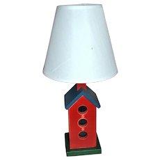 Folk Art Style Red Painted Wood Birdhouse Lamp