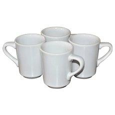 Homer Laughlin Set of 4 White China Restaurant Ware Mugs