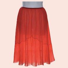 1960s Vanity Fair Pleated Red Chiffon & Nylon Half Slip