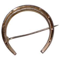 10K Gold Victorian Horseshoe Lucky Brooch/Pin