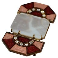 Art Deco Pink & Red Guilloche Enamel Mother of Pearl & Rhinestone Belt Sash