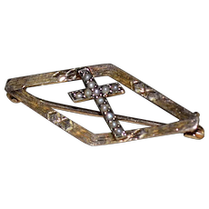 10K Gold Victorian Seed Pearl Religious Cross Pin