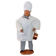 Simone Jouglas Clay Folk Art French Chef Doll Figurine Statue