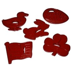 Signed HRM Set of 5 Red Plastic Holiday Cookie Cutters: Duck Rabbit Easter Egg American Flag Clover