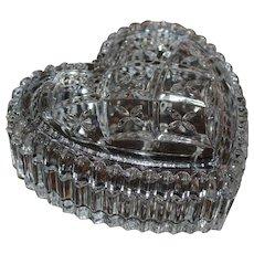 Cut Lead Crystal Glass Heart Trinket Dish with Lid