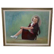 Signed Original Smiling Lady Naive Folk Art Oil Painting