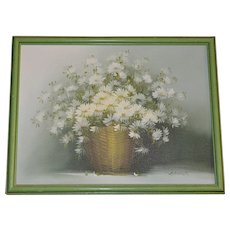 Signed Original Basket of White Daisies Framed Oil Painting