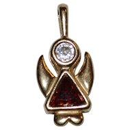 Sterling Silver Garnet & CZ Modernist Angel Gold Wash Pendant