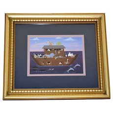 Colleen Sgroi Primitive Style Noah's Ark w/ Animals Framed Art Print