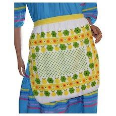 Flower Power White Terrycloth Apron w/ Daisies & Yellow Apples