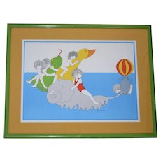 1977 Julie Corsover 'Children with Sea Animals' Color Art Print in Green Wood Frame