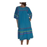 1970s Krist Gudnason Colorful Ocean Blue Peasant Caftan Dress