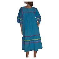 1970s Krist Gudnason Colorful Ocean Blue Peasant Caftan Dress