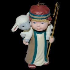 1994 Hallmark Helpful Shepherd with Lamb Christmas Ornament