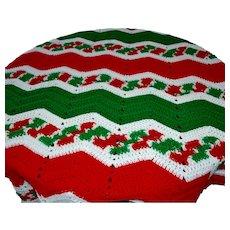Fabulously Festive Christmas Red, Green & White Large Chevron Crochet Blanket