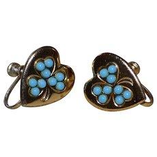 CORO Signed Sterling Vermeil Blue Glass Clover Heart Screwback Earrings