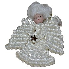 Handcrafted Large White Crochet Angel Christmas Ornament