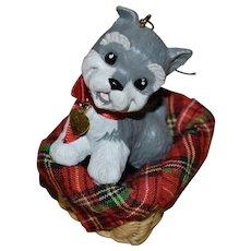 1992 Hallmark 'Puppy Love' Schnauzer Dog in Basket Christmas Ornament