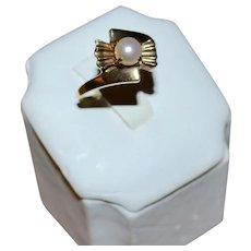 10K Gold Art Deco White Pearl Unusual Fan Shape Ring