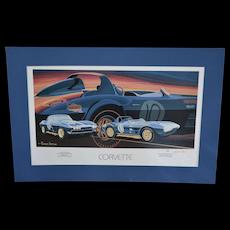 S/N Artist Terrence Davis Corvette Sports Car 25 x 17 Art Print w/ Blue Mat