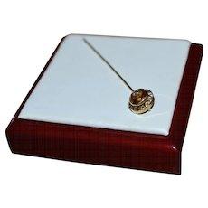10K Gold Victorian Era Topaz Glass w/ Paste Stickpin