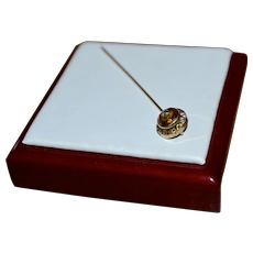 10K Gold Victorian Era Topaz Glass w/ Paste Stickpin
