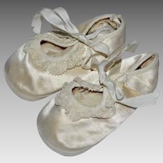 Darling White Satin & Crochet Bootie Shoes for Baby or Doll