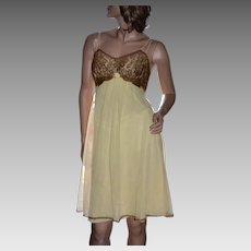 1960s Vanity Fair Pale Yellow Chiffon & Deep Gold Lace Lingerie Nightgown