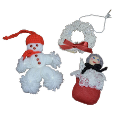 Set of 3 Handcrafted Yarn Snowman, Embroidered Granny, Crochet Wreath Christmas Ornaments