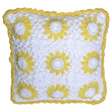 Yellow & White Daisy Crochet Square Throw Pillow